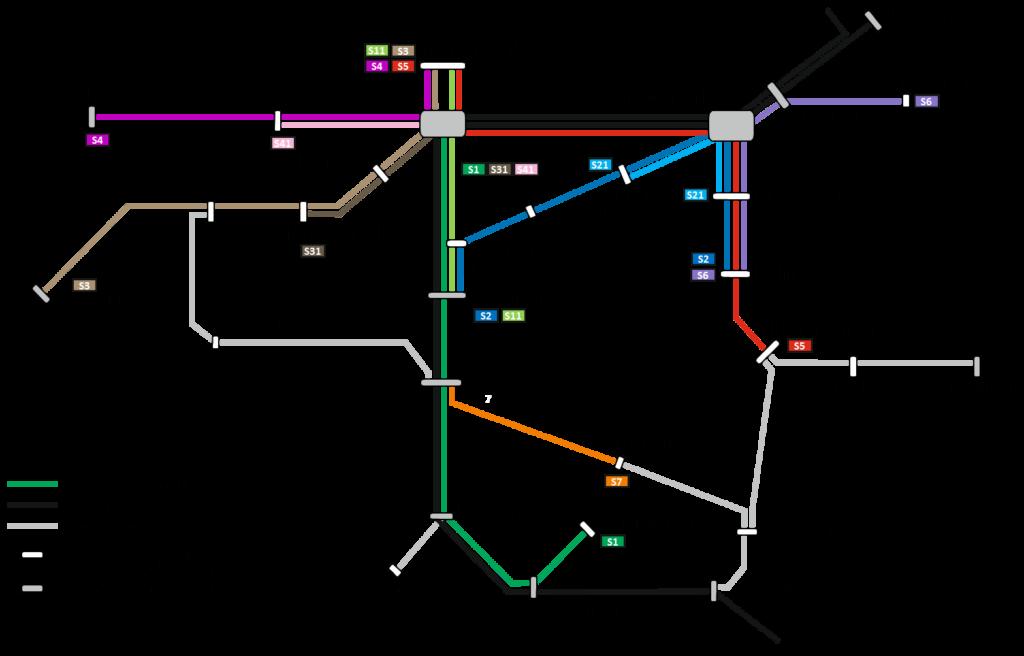 Liniennetz Plan Stadtbahn Tübingen