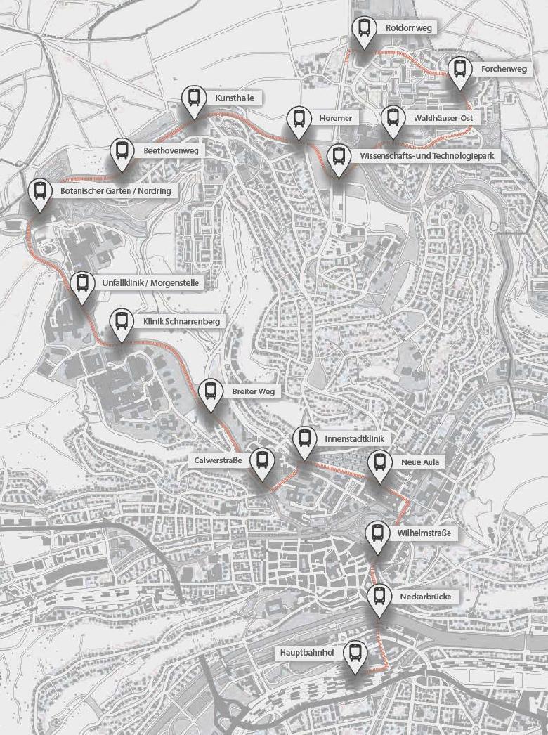 Stadtbahn Tübingen Strecke Plan Innenstadtstrecke Regionalstadtbahn